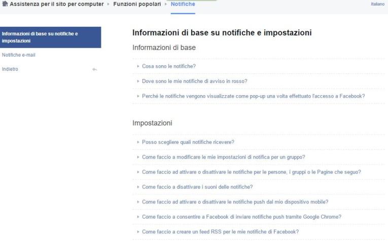 impostazioni per limitare notifiche da facebook