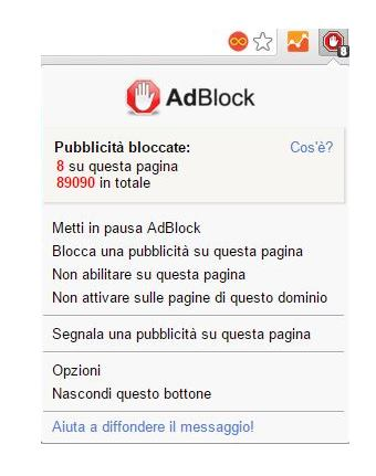 eliminare popup adblock