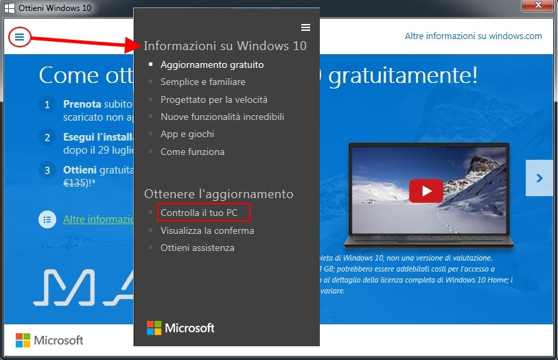 aggiornare a windows 10- informazioni su windows 10