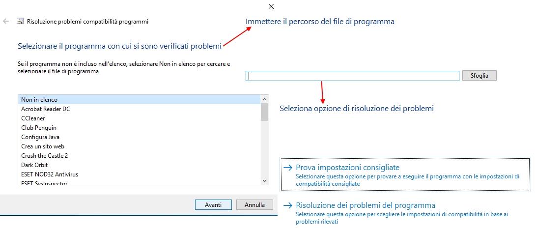 aggiornare a windows 10- programma non in elenco