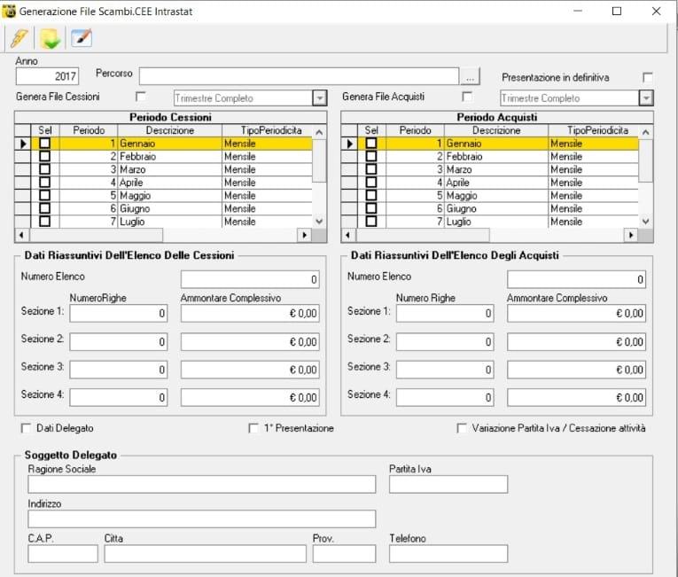 procedure Intrastat - creazione degli scambi
