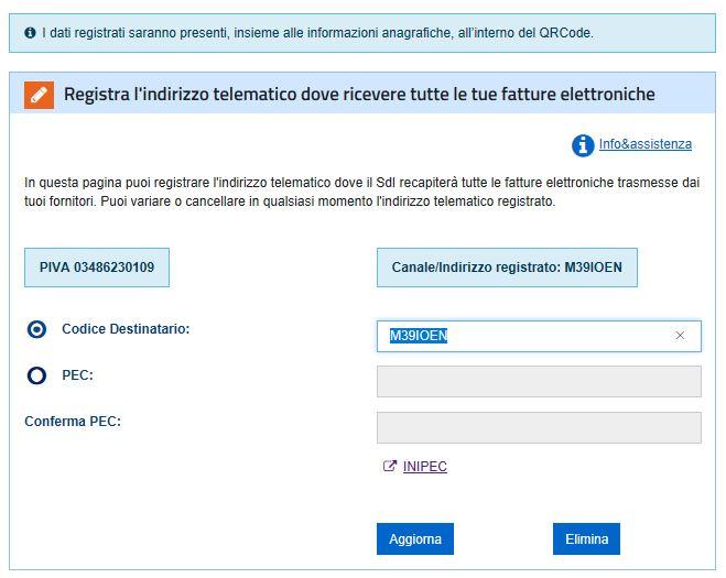 indirizzo Telematico registrazione