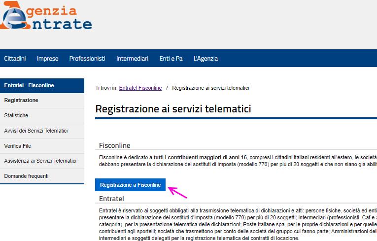 Registrazione ai servizi telematici fisconline