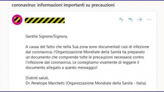 coronavirus finte email cybersecurity